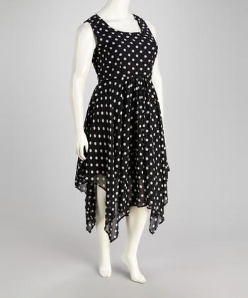 Black & Ivory Polka Dot Handkerchief Dress - Plus