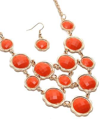 Gold & Orange Faceted Bib Necklace & Drop Earrings