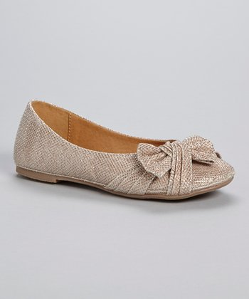 Champagne Glitter Ruched Bow Flat