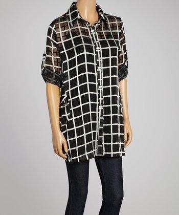 Black & White Grid Sheer Jacket - Women