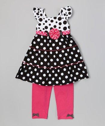 Black & Pink Polka Dot Tunic & Leggings - Infant, Toddler & Girls