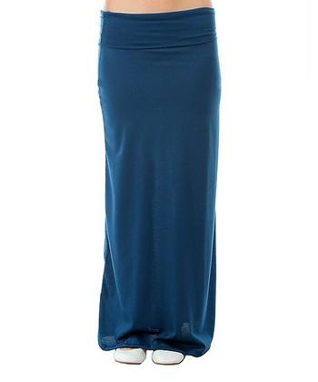 blue sheer maxi skirt zulily