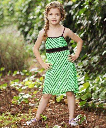 Lime Stripe Babydoll Dress - Girls