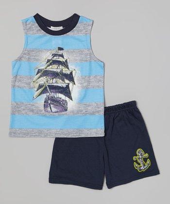 Light Blue & Gray Pirates Glow-in-the-Dark Pajama Set - Boys