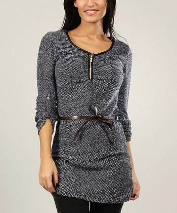 Navy Wool-Blend Belted Tunic