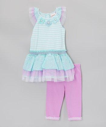 Aqua & Pink Ruffle Tunic & Leggings - Infant, Toddler & Girls