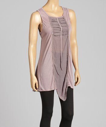 Mauve Ruched Rhinestone Top