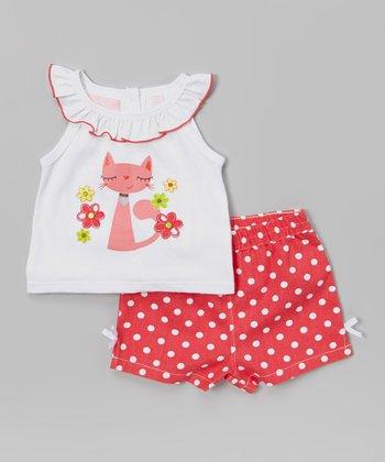 White Cat Yoke Tank & Pink Shorts - Girls