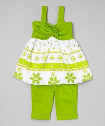 Lime Tiered Tunic & Capri Pants - Toddler & Girls