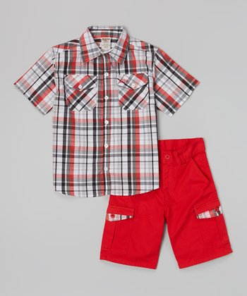 Red Plaid Button-Up & Cargo Shorts - Infant, Toddler & Boys