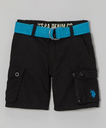Black & Turquoise Belted Cargo Shorts - Toddler & Boys