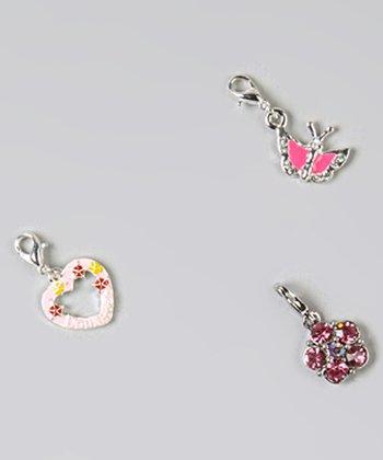 Sivler & Pink Spring 'Daughter' Charm Set