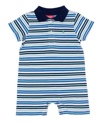 Navy & Blue Stripe Romper - Infant