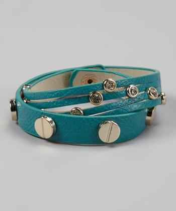 Blue & Gold Sparkle Multi-Row Wrap Bracelet