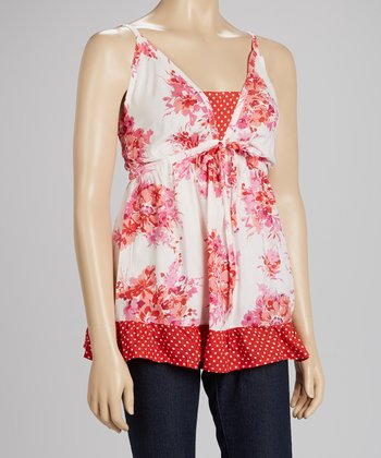 White & Red Floral Camisole