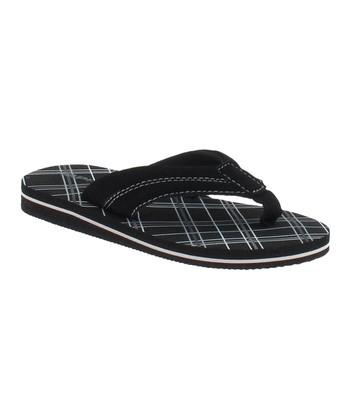 Black Plaid Flip-Flop