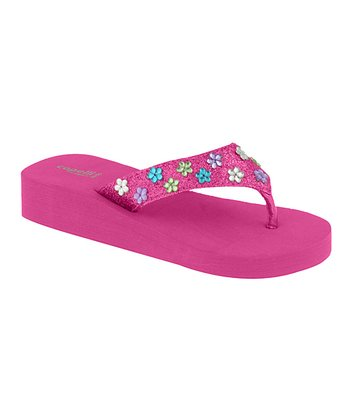 Pink & Teal Daisy Gem Wedge Sandal