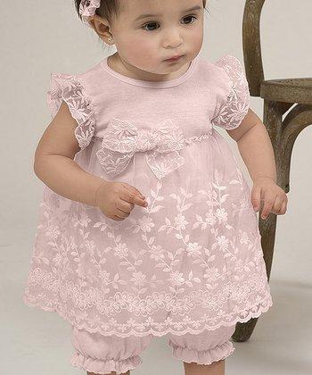 Blush Flower Lace Skirted Romper - Infant