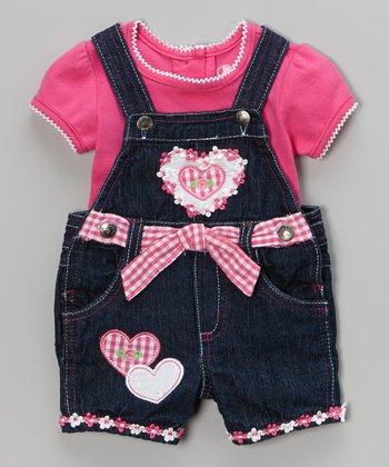 Denim Heart Shortalls & Pink Tee - Infant & Toddler