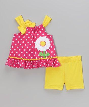 Pink Polka Dot Tank & Yellow Shorts - Infant & Toddler