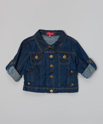 Dark Wash Roll-Tab Sleeve Denim Jacket - Girls