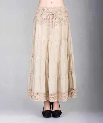 Brown Tiered Lace Maxi Skirt - Women