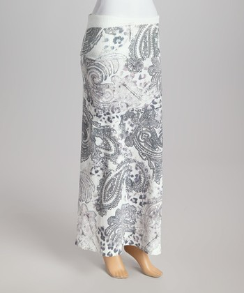 White & Gray Paisley Fold-Over Maxi Skirt