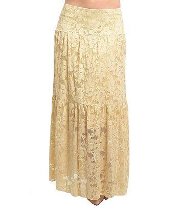 beige lace peasant maxi skirt