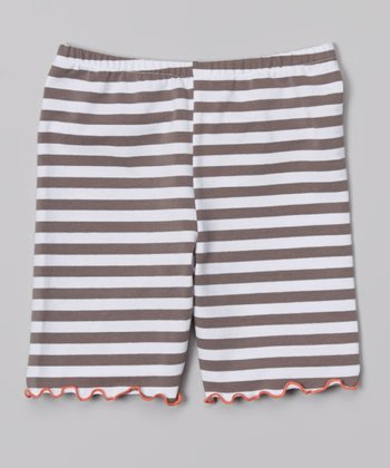 Taupe Stripe Bike Shorts - Toddler & Girls
