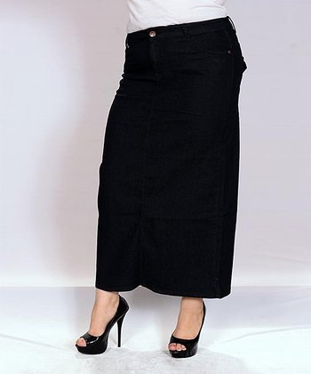 wash denim fitted maxi skirt plus zulily