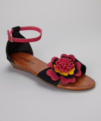 Black & Red Flower Sandal