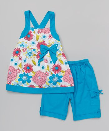 Turquoise Floral Bow Tunic & Shorts - Toddler & Girls