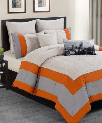 Duck river textile orange toledo overfilled comforter set - Orange and grey comforter ...