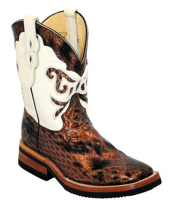 ferrini brown cool square toe leather cowboy boot