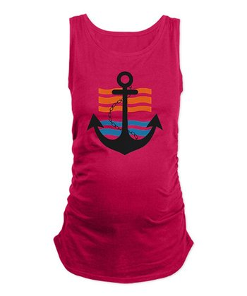 Pink Stripe Anchor Maternity Tank