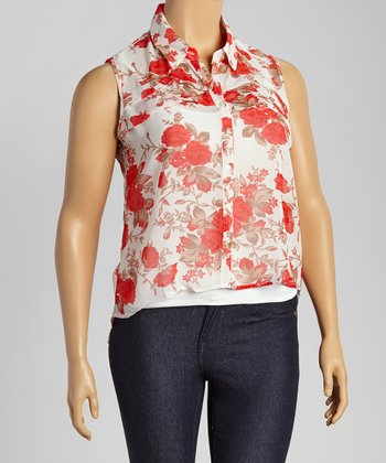 white floral sleeveless hi low button up top plus