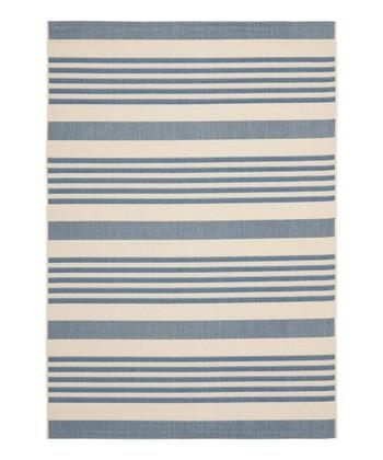 Blue Stripe Alfie Indoor/Outdoor Rug