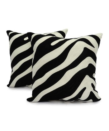 Black & White Cwagga Chainstitch Pillow - Set of Two