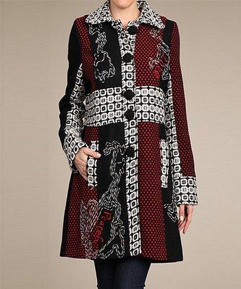 Neslay Paris Red & Black Embroidered Wool-Blend Car Coat - Women