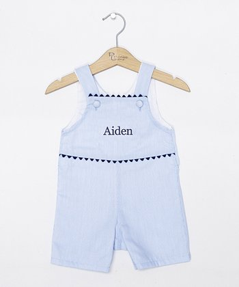 Blue Pinstripe Personalized Shortalls - Infant & Toddler