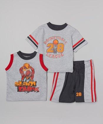 Gray 'Slam Dunk' Tank Set - Infant & Toddler