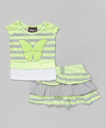 Lime & Gray Stripe Butterfly Top & Scooter Skirt - Toddler