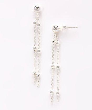 Sterling Silver Station Tassel Earrings