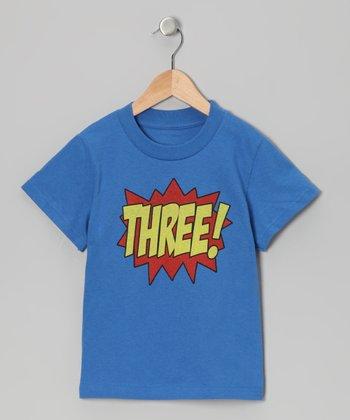 Royal Blue 'THREE!' Tee - Toddler