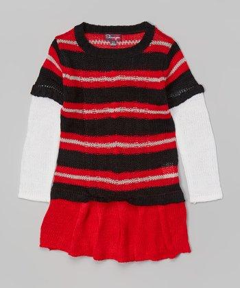 Ripe Red & Black Ink Stripe Drop-Waist Dress - Toddler & Girls