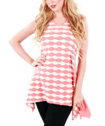 Coral & White Scallop Sleeveless Sidetail Tunic
