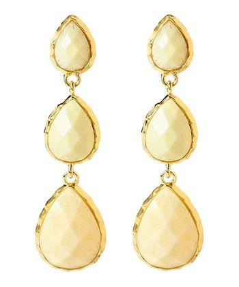 Gold & White Jade East Hampton Drop Earrings