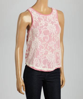 Fusion Pink Lace Stripe Keyhole Sleeveless Top