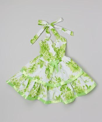 Lime Floral Halter Dress - Toddler & Girls