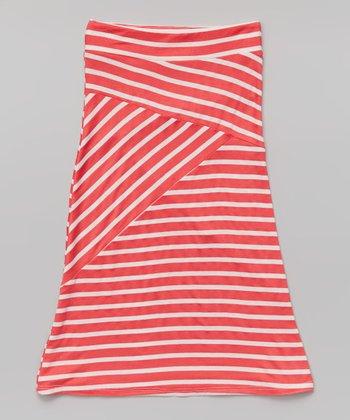 nouvelle coral white crisscross stripe maxi skirt